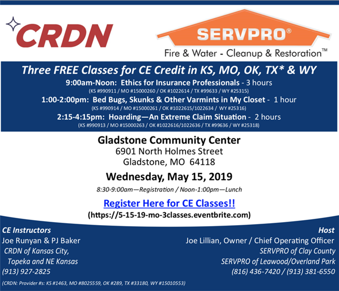 Three FREE Classes for CE Credit